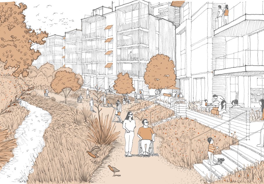 Artist impression of streetscape at Grafton Gully Future Urban Neighbourhood