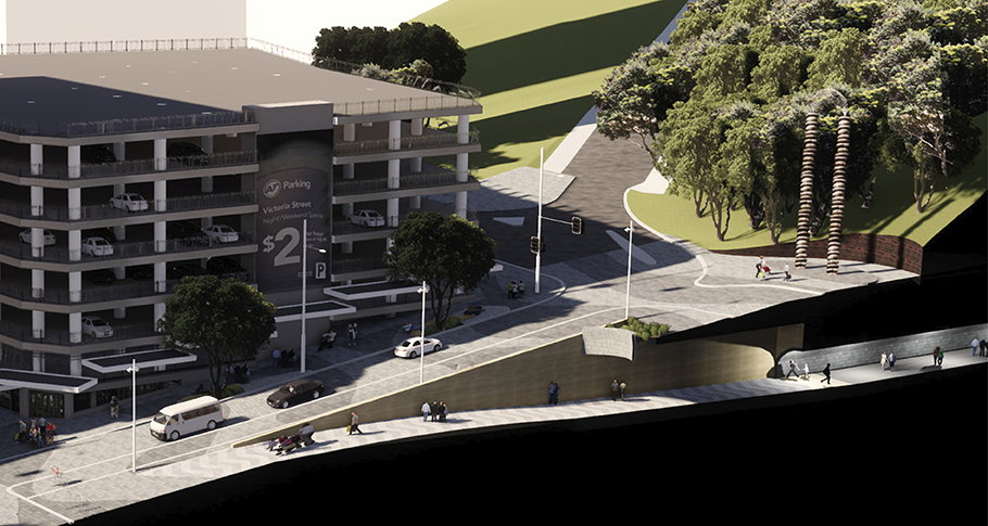 Cross-section showing Victoria Street linear park connecting to reopened Albert Park tunnels.