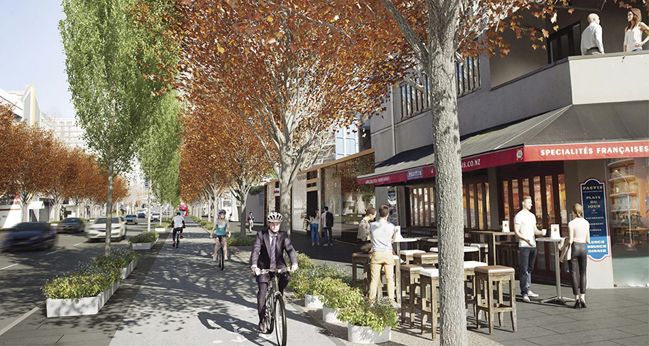 Nelson Street as proposed, with tree planting, cycleway and better pedestrian space.